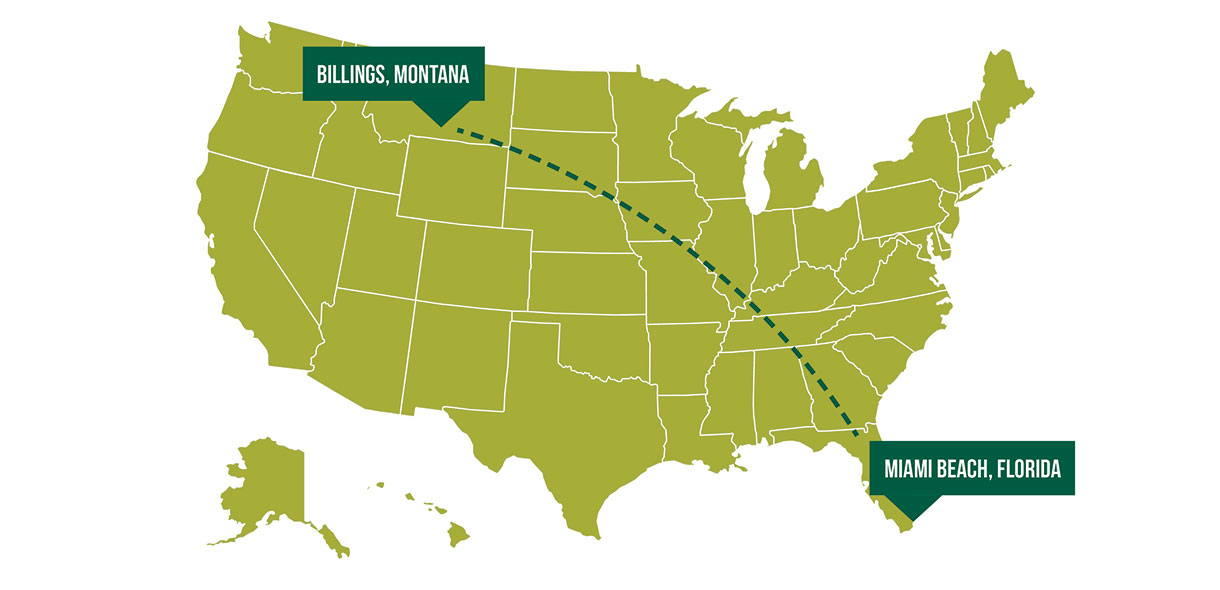 Osprey's path across United States